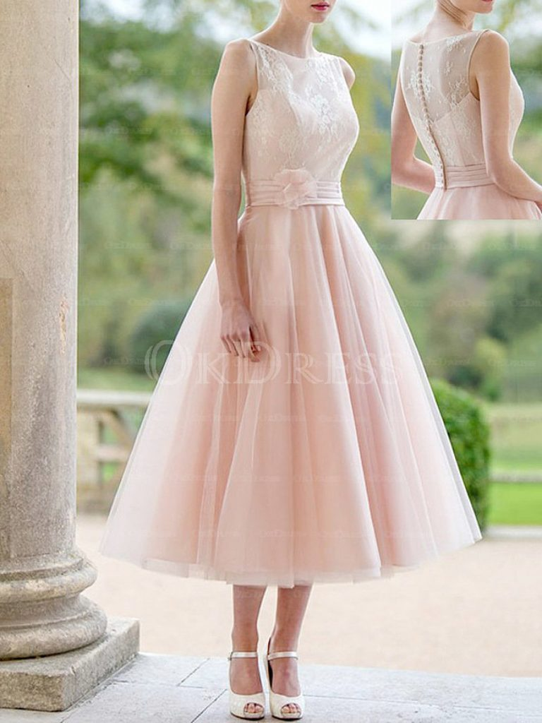 Concise A-line Princess Lace Tea-length Bridesmaid Dresses
