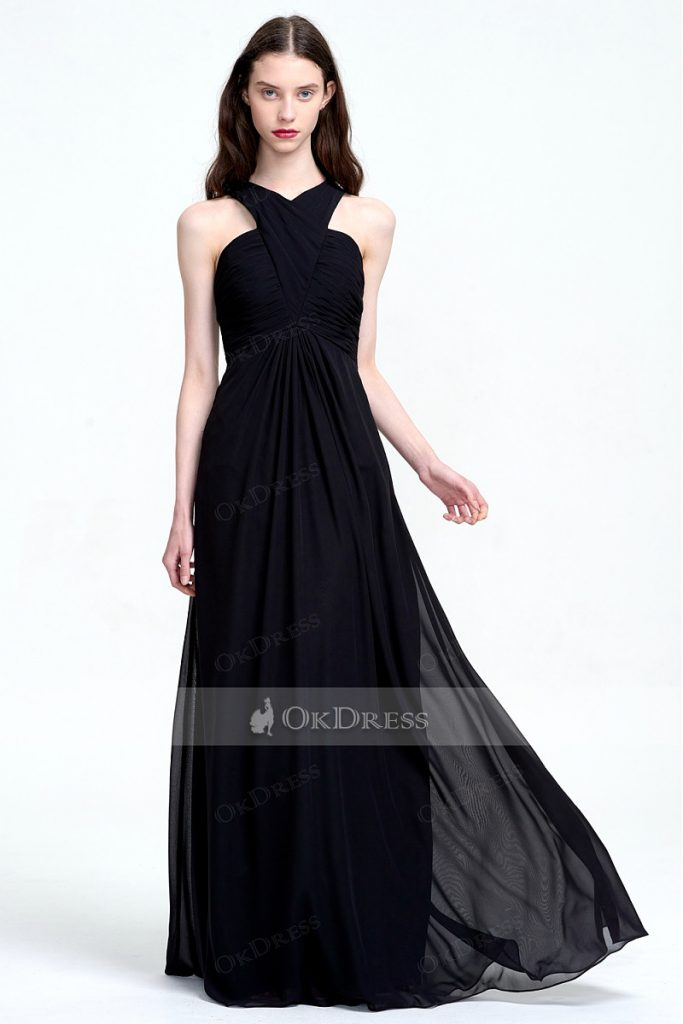Discount Straps Black Chiffon Empire Long Bridesmaid Dresses