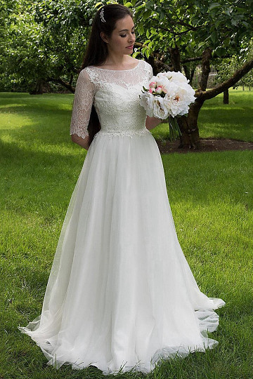 Mild Scoop Natural Ivory Applique Wedding Dresses